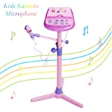 Kids Karaoke Microphone Musical Toys - Happytime Adjustable Stand Karaoke Machine with Pink External Music Function & Flashing Lights for Kids