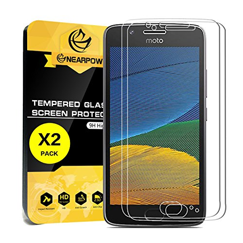 NEARPOW [2 Pack] Moto G5 Screen Protector, [Tempered Glass] Screen Protector with [9H Hardness] [Crystal Clear] [Easy Bubble-Free Installation] [Scratch Resist]