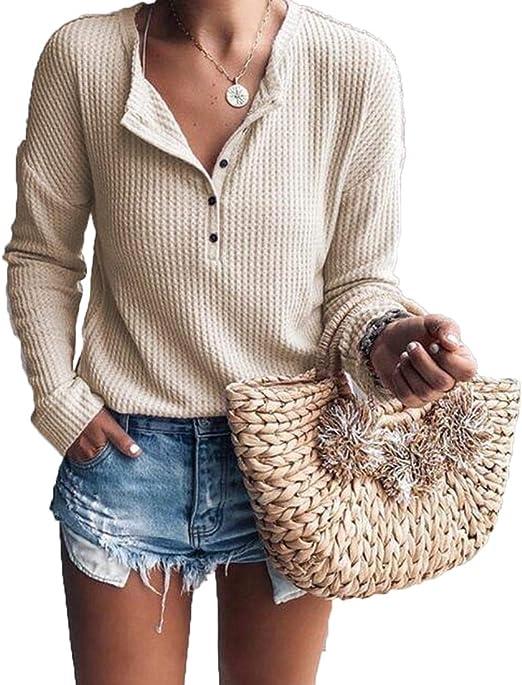 ZAWAPEMIA Womens Henley Tops Button Down Waffle Shirt Causal Blouses