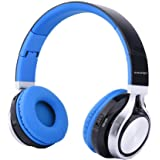 Esonstyle Bluetoothヘッドホン 密閉型 ワイヤレス 内蔵マイク付き 折り畳み 有線ケーブル 通話機能/音楽再生/3色選択可能 (ブルー)