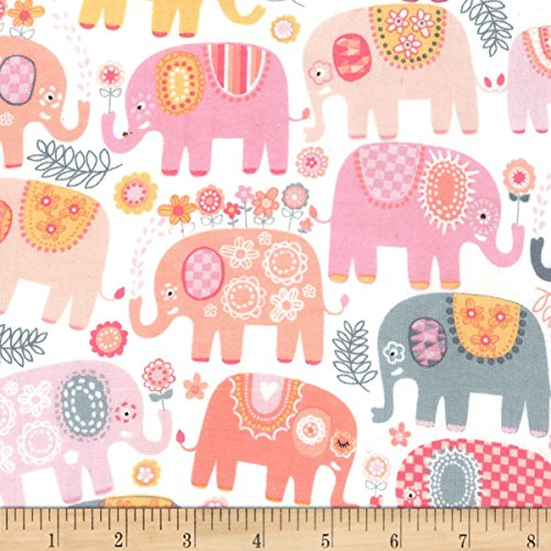 Michael Miller Flannel Fabric - Michael Miller 0575847 Flannel Happy Elephants Pink Fabric by The Yard