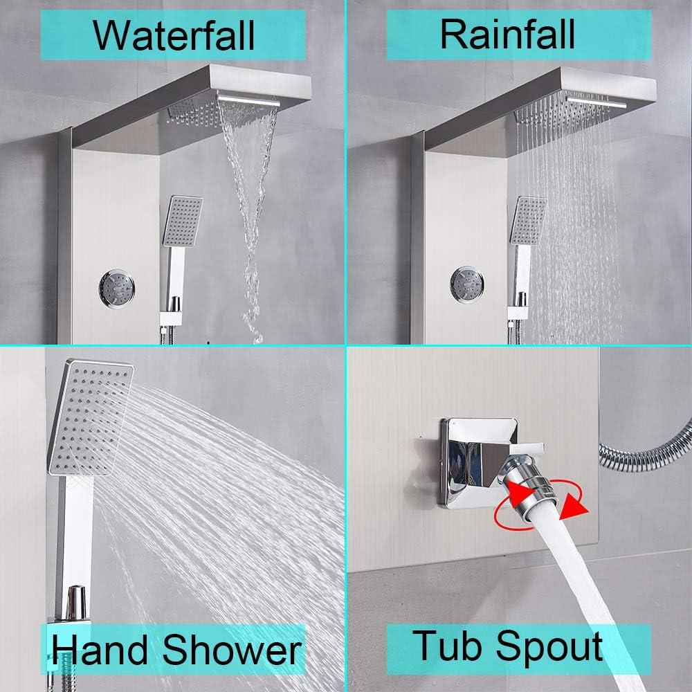 Rozin Duschpaneel Duschset Edelstahl Wasserfall und Regendusche Kopf K/örper Massage Jets Handheld Sprayer Mixer Wand montiert Wasser System