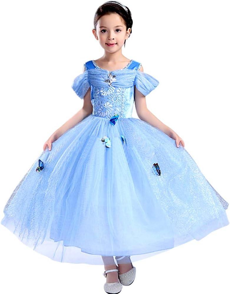 Bascolor Disfraz Cenicienta Niña Cinderella Dress Princesa Cenicienta Vestido Traje Princesa Cenicienta para Halloween Cosplay Fiesta (8-9 años)