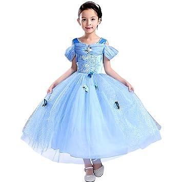 Bascolor Disfraz Cenicienta Niña Cinderella Dress Princesa Cenicienta Vestido Traje Princesa Cenicienta para Halloween Cosplay Fiesta (4-5 años)
