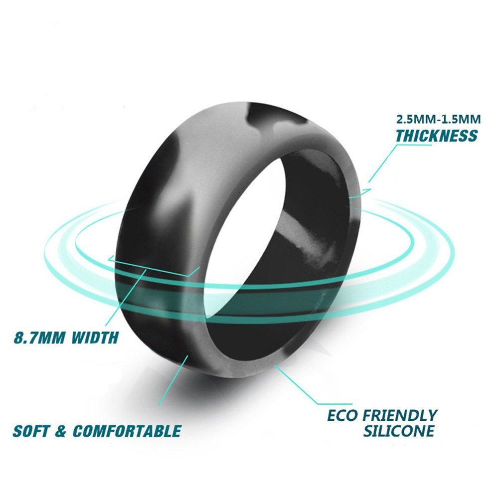 PAMTIER Silicone Wedding Ring for Men Affordable Silicone Rubber Band 10 Pack