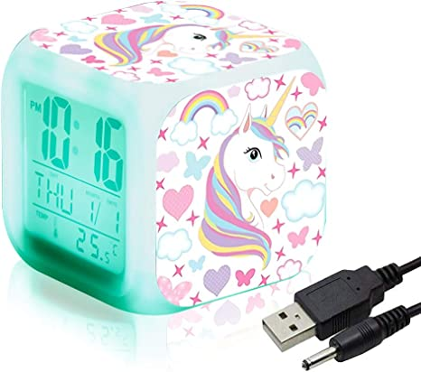 Unicornio Relojes de alarma digitales para niñas, LED