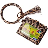 Lantintop Multifunctional Bangle Key Ring Card Holder PU Leather Round Keychain With Matching Wristlet Wallet For Women…