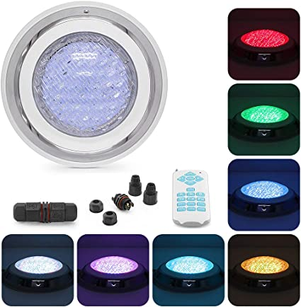 45W Swimming Pool Light Wall Mounted 12V Power LED 7 Colours RGB Remote Control