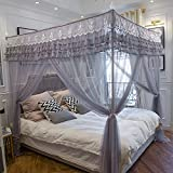 4 Corner Poster Princess Bed Curtain Canopy Mosquito Netting Canopies (Twin, Gray)