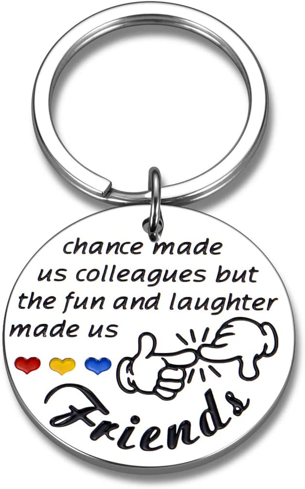 Coworker Keychain Birthday Gifts for Colleague Friends Appreciation Leaving Going Away Goodbye Farewell Resignation Gift for Women Men Employee Mentor Leader Boss Retirement Christmas Office Present