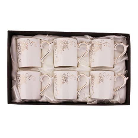 7d45a3a4146 Buy HI LUXE 6PC PORCELAIN TEA SET GOLD FLOWER DESIGN 3022-290G Online at  Low Prices in India - Amazon.in