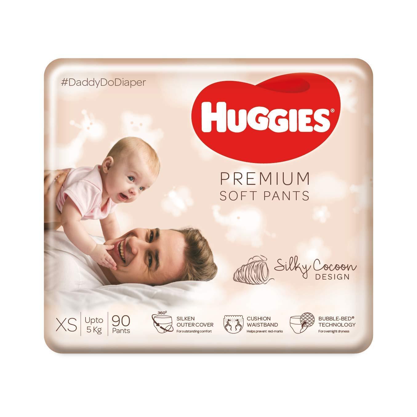 Huggies Premium Soft Pants, Extra Small / New Born (XS / NB) size newborn baby diaper pants, 90 count, Mom's No.1 choice for newborns*