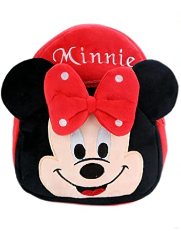 Blue Tree Soft Material School Bag for Kids Plush Backpack Cartoon Toy   Children's Gifts Boy/Girl/Baby/ Decor School Bag for Kids(Age 2 to 6 Year) (Minnie Rad)