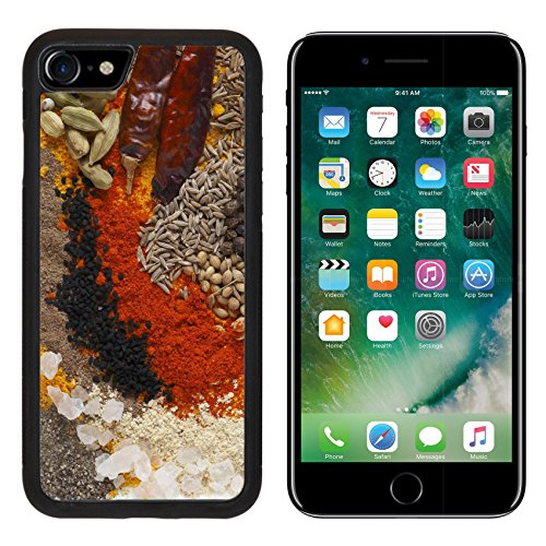 Luxlady Premium Apple iPhone 7 Aluminum Backplate Bumper Snap Case iPhone7 IMAGE ID: 24189918 Asian curry spices in the centre black pepper coriander seeds black mustard cumin seeds around that dr