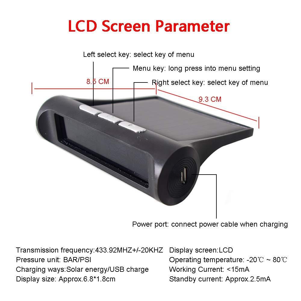 LCD Schermo 0-58 PSI//0-4 Bar 4 Sensori Esterni Tempo Reale Visualizzazione dellAllarme Pneumatici Pressione per Auto Cocar TPMS Senza Fili Solare Sistema di Monitoraggio Pressione Pneumatici