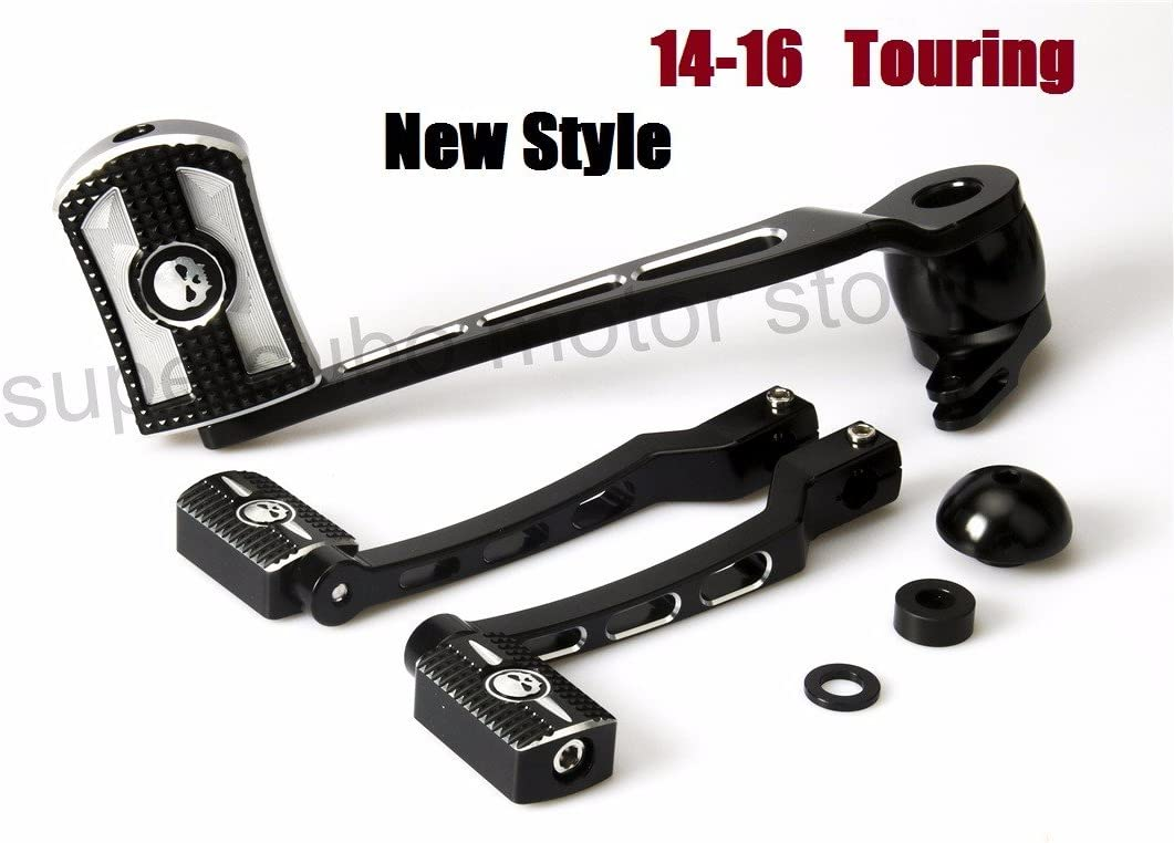 Black skull head Brake Arm Kit Shift Lever W//Shifter Pegs For Harley Touring FLT//FLHX//FLHT//FLHR//FLTR//FLHTCUTG 2014-2019