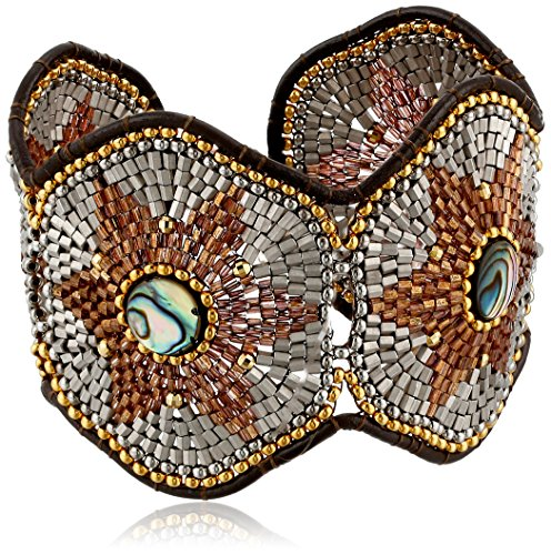 Miguel Ases Abalone and Leather Beaded Bracelet by Miguel Ases