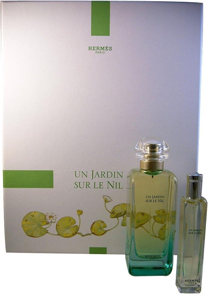 Set de regalo Un Jardin sur le Nil de Hermes para mujer (eau de toilette de 100 ml y eau de toilette de 15 ml), paquete de 1 unidad (1 Set de