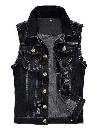 d0efec4da8b INVACHI Men's Casual Slim Fit Denim Vest Vintage Sleeveless Jeans Vest  Jacket Black X-Small