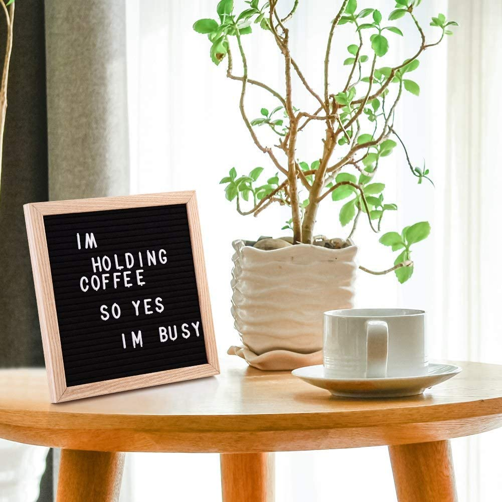 Message Board with Oak Frame and 435 Characters 10 x 10 Inches Changeable Letter Boards Cocoarm Felt Letter Board