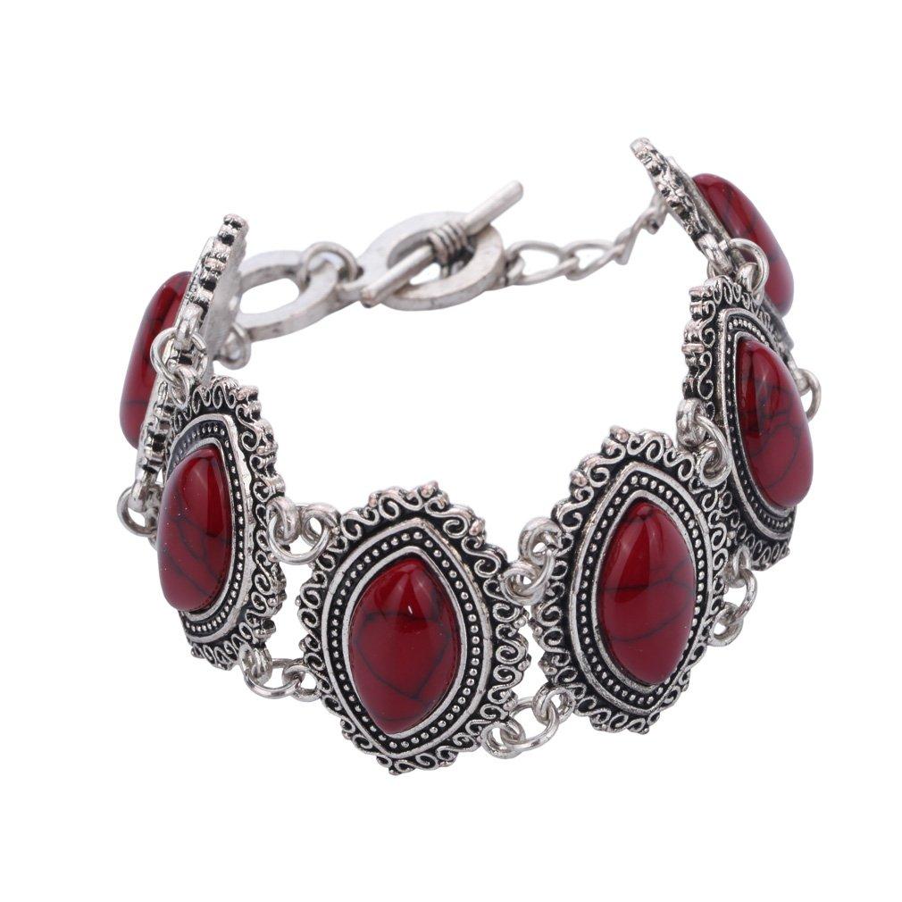 Yazilind Bijoux Design sp/écial Sets Retro Turquoise Claw Collier Pendentif Fleur plaqu/é Argent Boucles doreilles Bracelet Charme