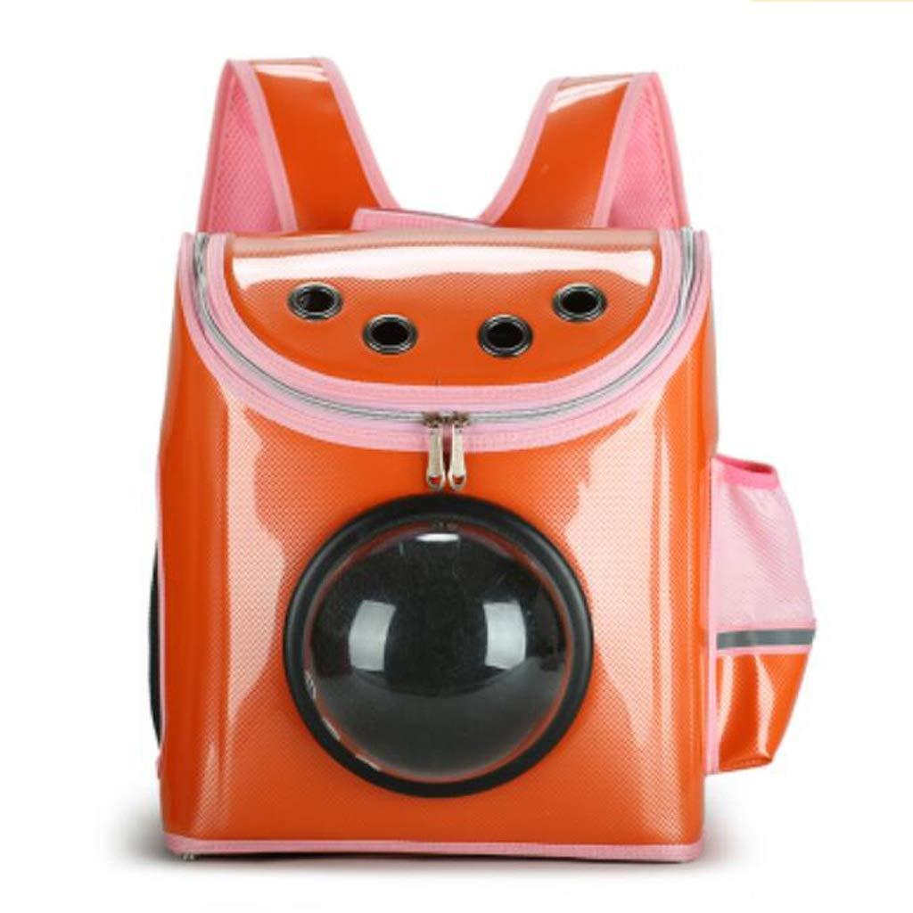 orange FJH Pet Backpack Cat Bag Space Capsule Cat Out Of The Belt Carrying Bag Dog Bag Rabbit Bag Cat Bag Large (color   orange)