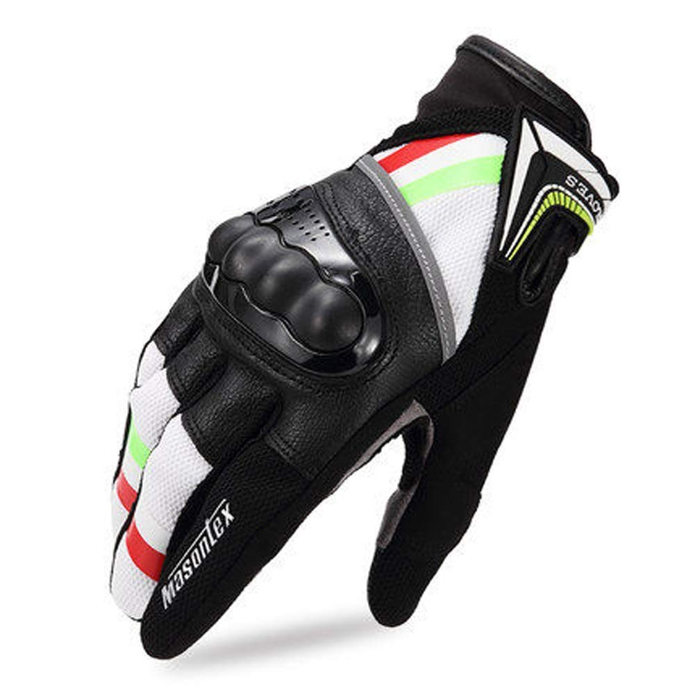 AINIYF Full Finger Motorcycle Gloves | Cycling Equipment Men's Leather Full Finger Racing Four Seasons Drop-proof Touch Screen Motorcycle Leather Bike Outdoor Gloves (Color : Green red, Size : M)