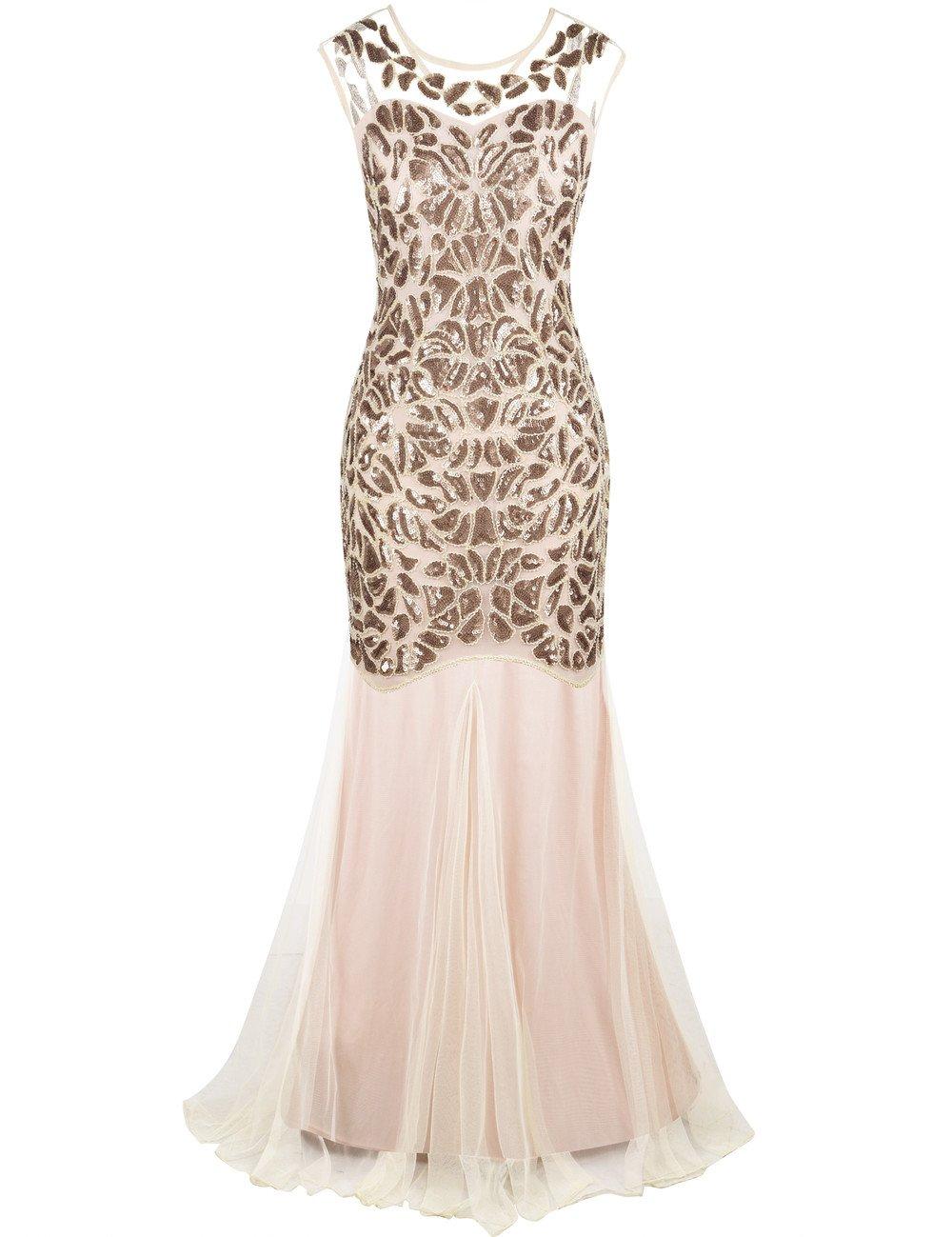 PrettyGuide Women's 1920s Art Deco Flapper Formal Gowns Cocktail Evening Dress M Champange