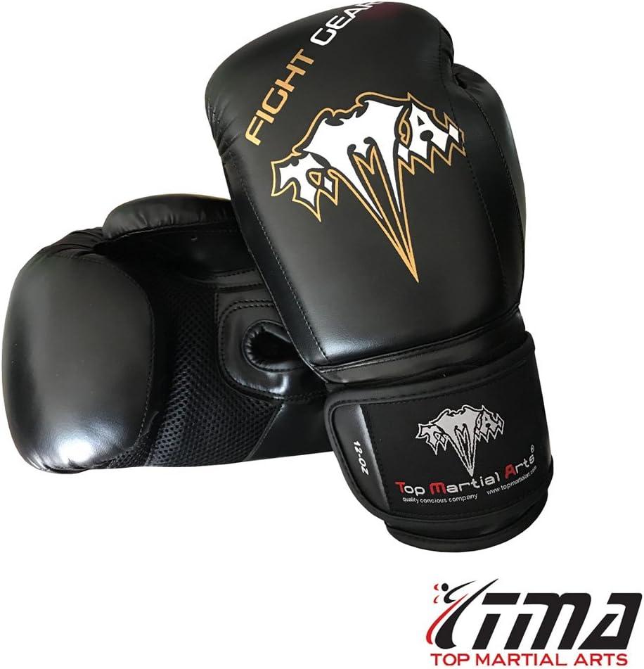 TMA Boxing Punching手袋レザートレーニングFight FitnessスパーリングMMA Muay Thai  12 OZ