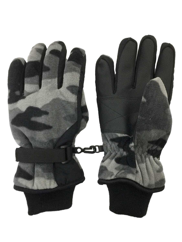 Tek Gear Boys Black /& Gray Camo Waterproof Microfleece Winter Gloves