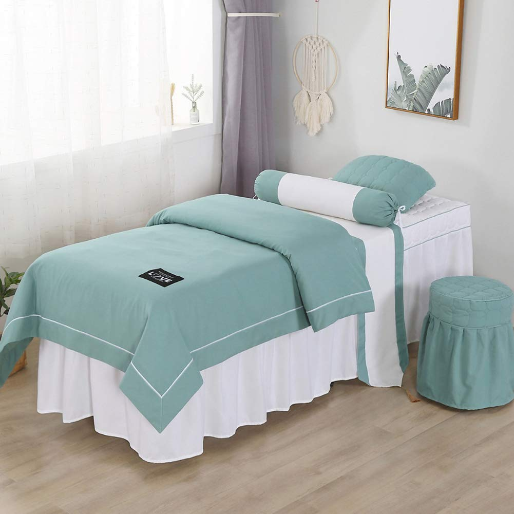 Solid Color Beauty Massage Linens, Cotton Soft Massage Table Sheet Sets Bedspread with Face Rest Hole Breathable Bed Cover-Green 75x190cm(30x75inch) by CClz