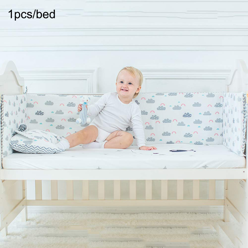 1inch Baby Crib Bumper Pads 1 Pcs Cotton Safe Bed Bumpers,Okngr Breathable Cot Bed Bumper Cushion Toddler Crib Bumper Pad Protector for Baby Boys Girls size 47 11.9