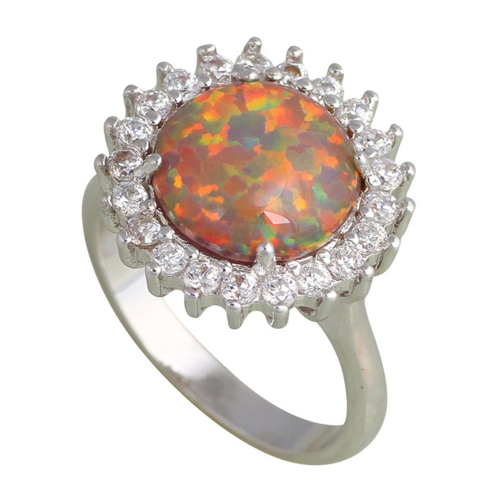 T/&F-Jewelry Fashion Huge Orange fire Opal Rings For Women Wedding Ring Engagement Bridal Rings