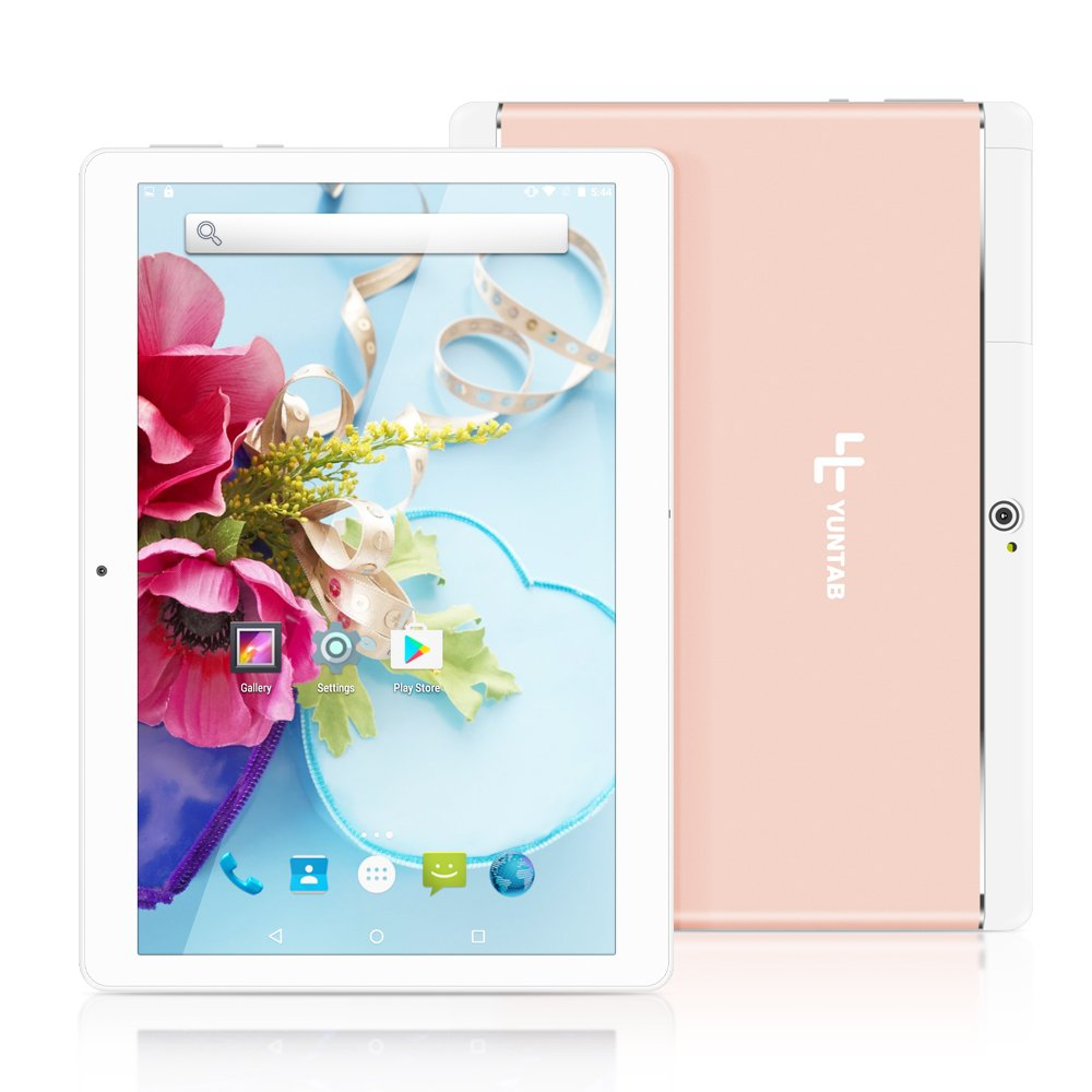 Yuntab 10.1 inch Unlocked 3G Wifi Tablet PC Quad Core Android 5.1 Lollipop MTK 16G Smart Phone 2G 3G Wifi Google Tablet IPS 1280X800 GPS Cellphone (Rose Gold) by Yuntab
