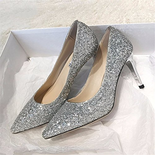 Gradient Crystal Fine High Ladies Party New With Sequins HXVU56546 Silver Heels Fashion Shoes qEwtZ0x