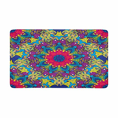 INTERESTPRINT Valentine's Day Hearts, Rainbows and Clouds Psychedelic 60s Hippie Indoor Entrance Rug Floor Mats Shoe Scraper Doormat 30 X 18 Inches -