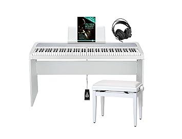 Korg B1 BK Piano digital negro Deluxe Set (con atril, sordina pedal Piano, banco, auriculares y lecciones) Color Blanco: Amazon.es: Instrumentos musicales