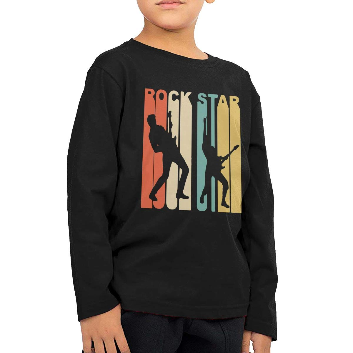 Retro 1970s Style Rock Star Kids Boys Girls Crewneck Long Sleeve Shirt Tee for Toddlers