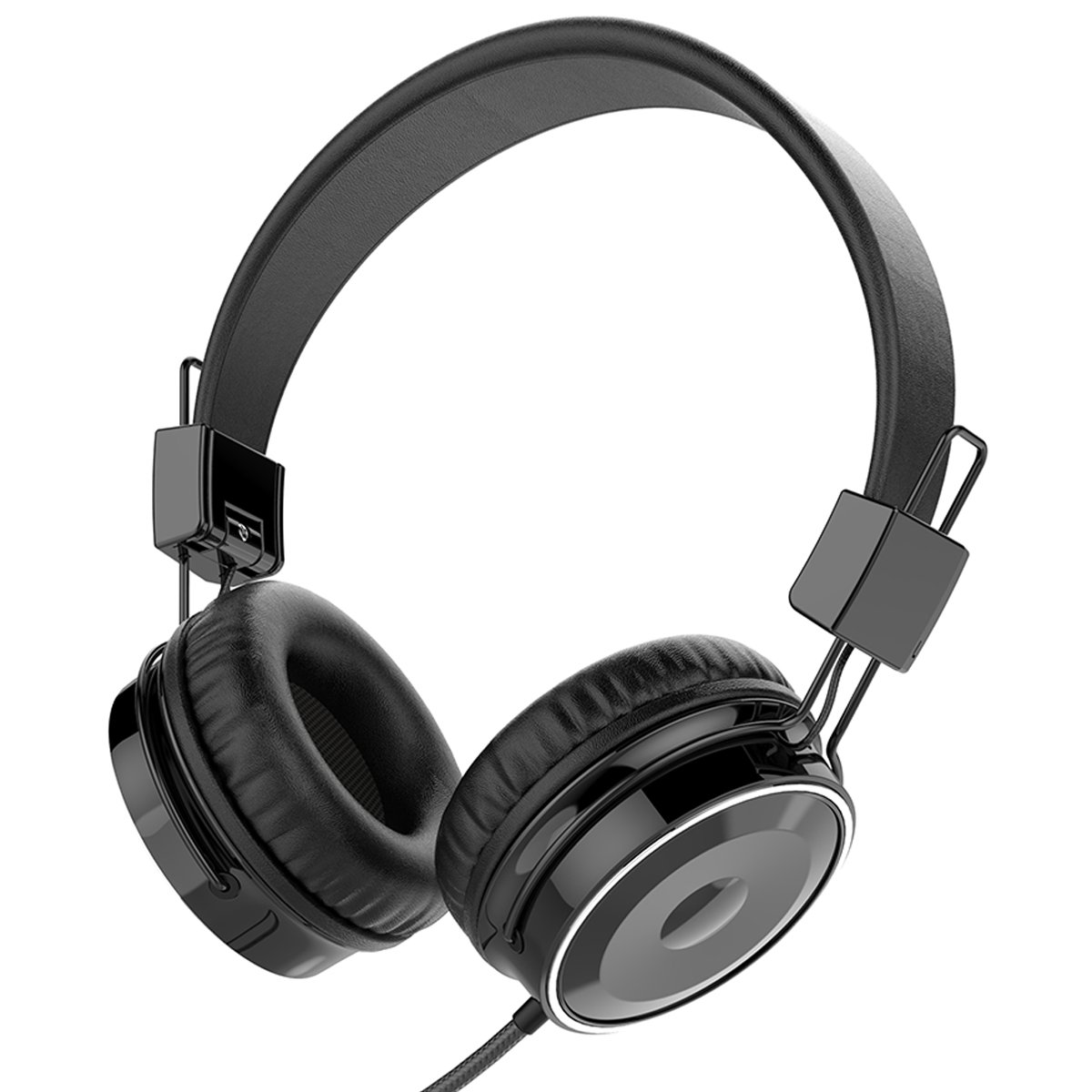 Baseman Wired Stereo Foldable Over-ear Headphones Strong Low Bass Earphones with Microphone 3.5mm Headsets for Cellphones iphone Laptop Tablet Mp4 Mp3 PC Macbook (Black)