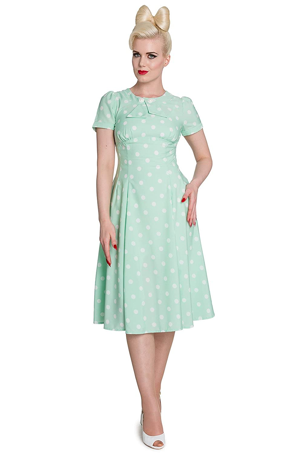 131c278b681 ... Length of the dress  Below Knee Unlined. Semi-sheer. Back zipper  closure. Decorative front buttons. Color  Mint with white polka dots