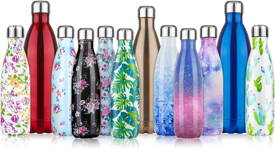 Botella de Agua de acero inoxidable sin BPA-500/750/1000 ml Botella Termica aisladas al vacío Botellas de doble pared reutilizable Mantiene bebidas 24h frías y 12h Calientes para Viaje, Deporte