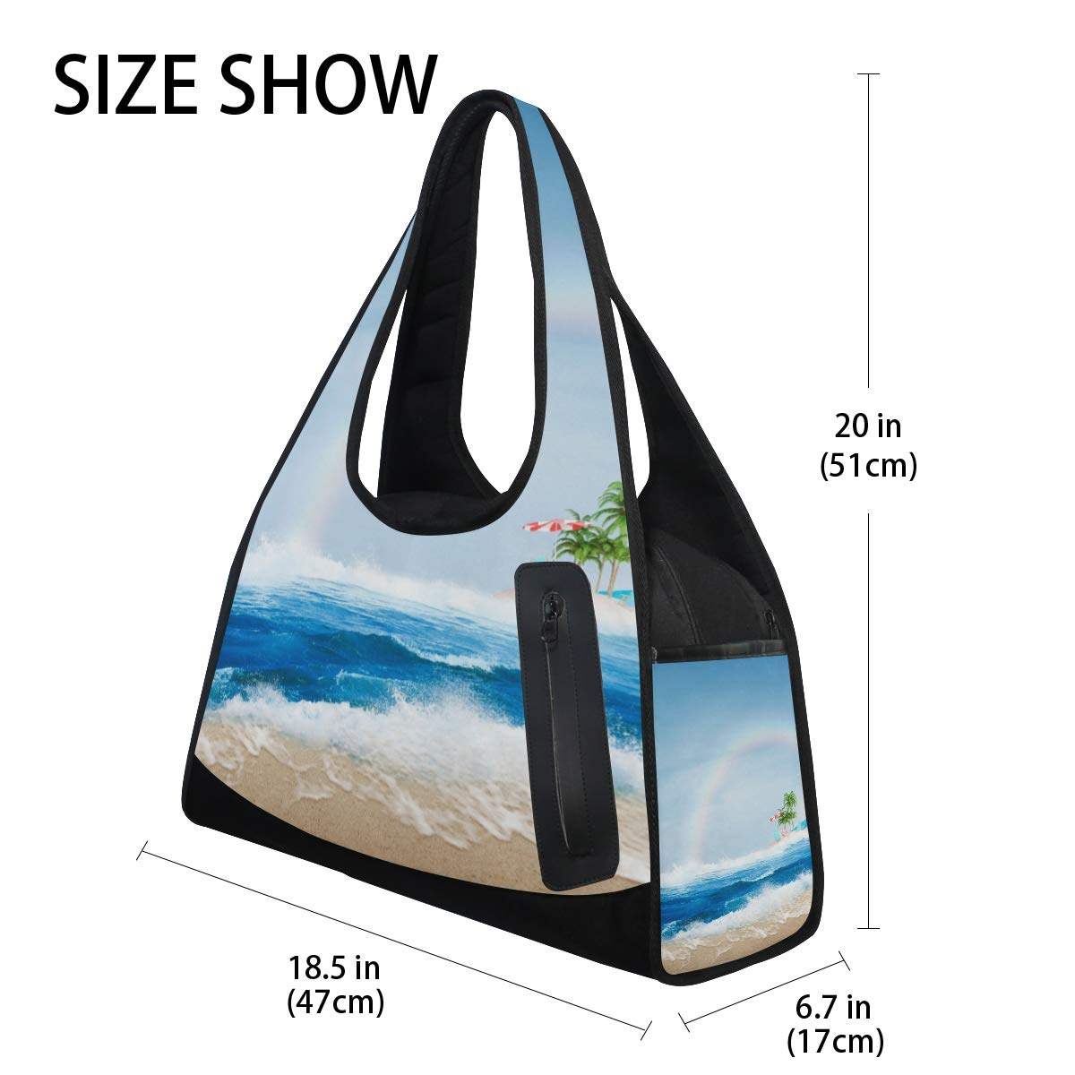 Sunshine Beach Surf Women Sports Gym Totes Bag Multi-Function Nylon Travel Shoulder Bag