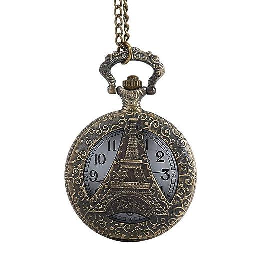 Loolik Reloj de Bolsillo,de Elegante Torre Eiffel Relojes de Bolsillo (Marrón)