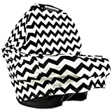 MakeBabySmile Baby Stretchy Car Seat Cover Canopy Poncho, Multi-Uses(High Chair Cover   Nursing Cover Scarf   Shopping Cart Cover) with Bonus Matching Pouch (BLACK-CHEVRON)