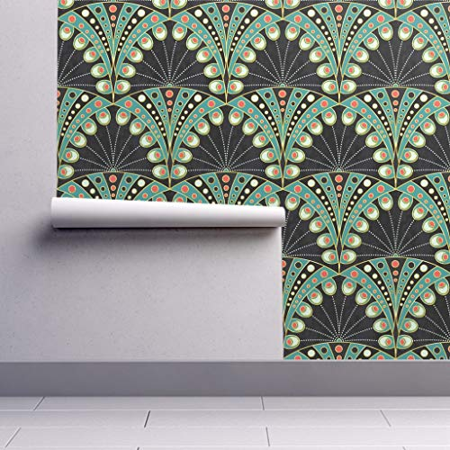 Peel-and-Stick Removable Wallpaper - Peacock Feather Peacock Feather Art Nouveau Geometric Art Deco by Lilalunis - 12in x 24in Woven Textured Peel-and-Stick Removable Wallpaper Test Swatch
