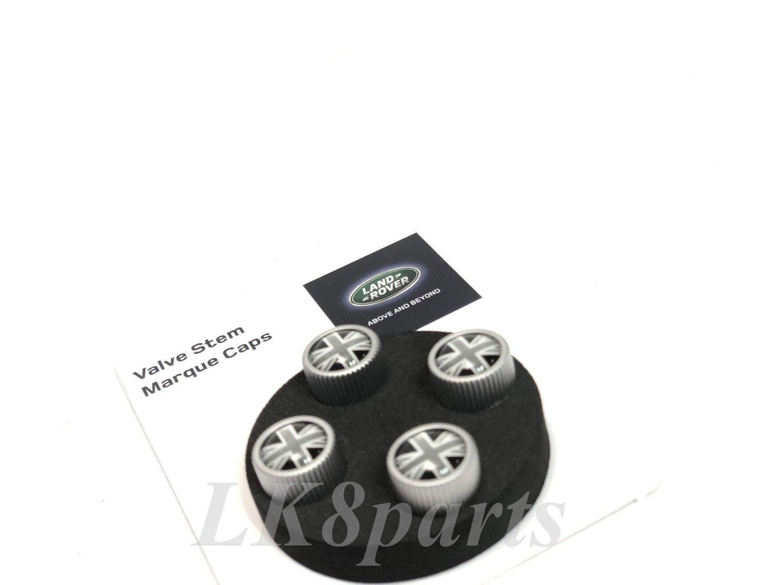 Land Rover Silver and Black Genuine Union Jack Tire Wheel Valve Stem Caps Set by Proper Spec