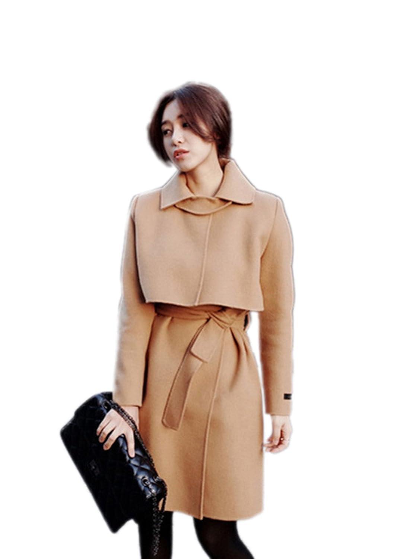 Cartiar Women's Belted Wool Outwear Coat Slim Jacket Windbreaker Parka Coat