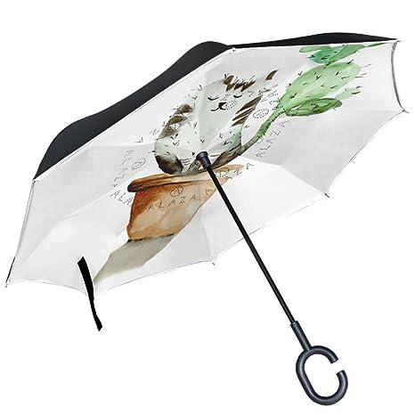 ALAZA Funny Cat en Maceta Cactus Cola Puede Paraguas Paraguas de Doble Capa Resistente al Viento
