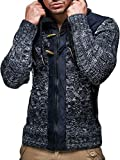 Product review for Leif Nelson LN20525 Men's Knit Zip-up Jacket With Geometric Patterns and Leather Accents