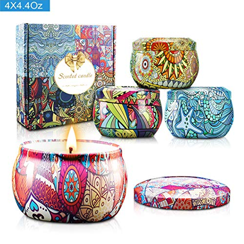 - Scented Candles Gift Sets, Natural Soy Wax Aromatherapy Candles Portable Travel Tin Candles Women Gift with Fragrance Essential Oil, 4.4Oz 25 Hour Burn Time Per Candle for Bath Yoga Home 4 Pack